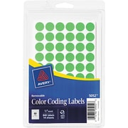 "Avery  05052 Removable Self-Adhesive Round Paper Color-Coding Label, Green, 1/2""(Dia), 840/Pack"