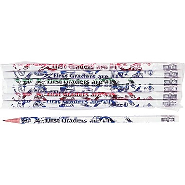 Moon Products Woodcase Pencil, HB-Soft, No. 2 Lead, White Barrel, First Graders Are #1, 12/Pack