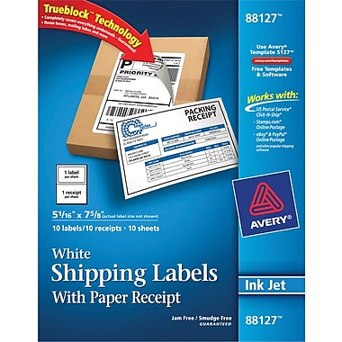 Avery® 88127 White Shipping Label, 5 1/16