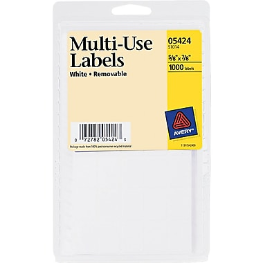 Avery ® 05424 White Removable Rectangular Label, 5/8