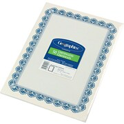 "Geographics® Acid-Free Parchment Paper Certificate, 11""(H) x 8 1/2""(W), Blue Royalty Border"