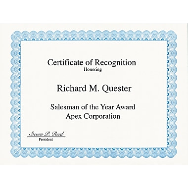 Geographics ® Certificate For Copiers, Laser And Inkjet Printers, Blue, 8 1/2