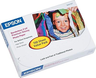 Epson Ink Jet Paper, Premium Glossy, Photo, 68 lbs., 4