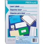 "Avery PRES-a-ply 1"" x 2.62"" Laser Address Labels, White, 250/Pack (30609 )"