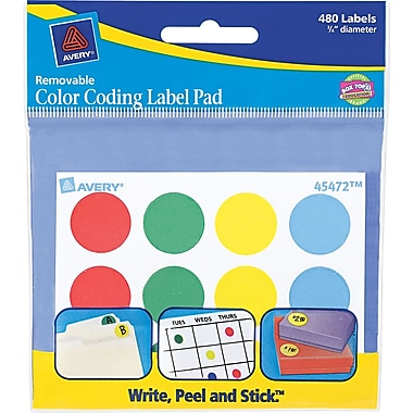 Avery ® 45472 Paper Label Pad, Assorted, 3/4
