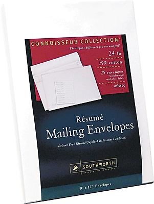 Southworth® 25% Cotton Resume Presentation Envelope, White, 9