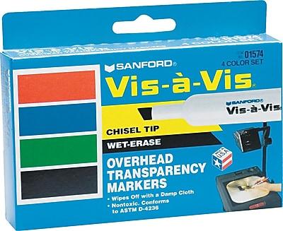 Expo® Vis-a-Vis® Wet Erase Markers, Chisel Tip, Assorted, 4/pk (1574)