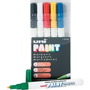 Uni® Paint Markers, Fine Point, Assorted Colors, 6/pk (63720)