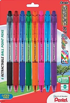 Pentel® R.S.V.P.® RT Retractable Ballpoint Pen, Medium, Assorted, 8/Pack