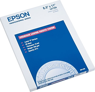 Epson® Ultra Premium Luster Photo Paper, White, 8 1/2