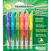 Ticonderoga Emphasis Pocket Style Highlighter, Chisel Tip, Assorted, 6/Pack