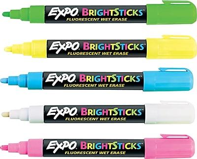 Expo® BrightSticks Fluorescent Wet Erase Markers, Bullet Tip, Assorted, 5/pk (14075)