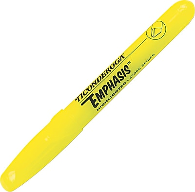Dixon Ticonderoga® Emphasis™ Highlighters, Chisel Tip, Fluorescent Yellow Ink, 12/Pk (47065)