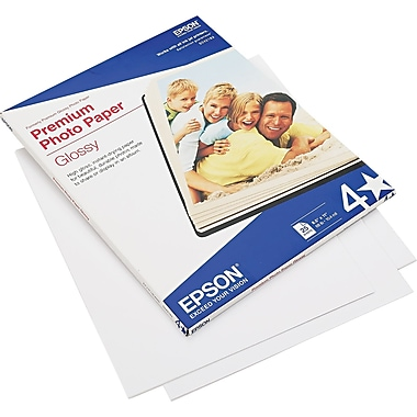Epson® Premium High Glossy Photo Paper, Bright White, 8 1/2