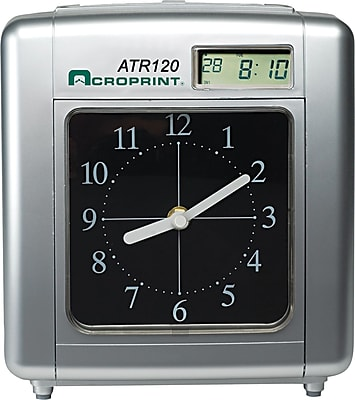 Acroprint ATR120 Time Clock For Weekly / Biweekly Pay Periods, Black / Silver