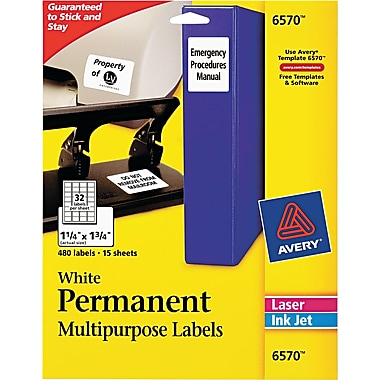 Avery® Permanent ID Labels, 1 1/4 x 1 3/4, 480/Pack (6570)