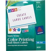 "Avery 8.5"" x 11"" Inkjet Full-Sheet Color Printing Labels, Matte White, 20/Pack (8255)"
