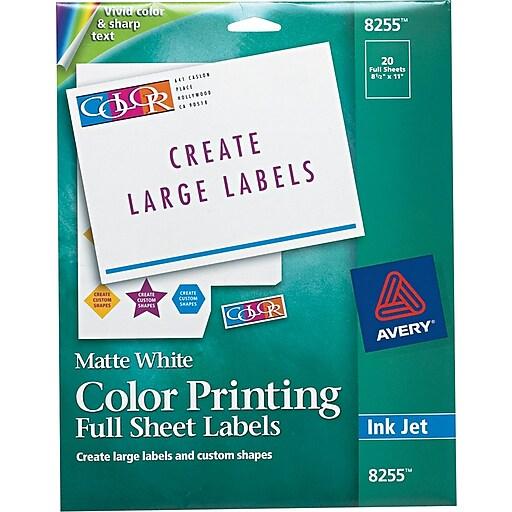 avery 8 5 x 11 inkjet full sheet color printing labels matte