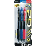 Pilot G2 Premium Retractable Gel Roller Pens, Fine Point, Assorted, 3/Pack (31023)