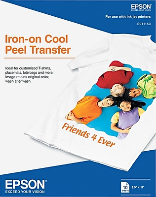 Epson® Iron-On Transfer For Inkjet Printers, White, 8 1/2