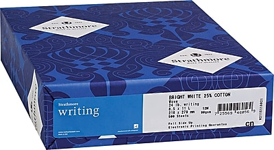 Strathmore Writing® Cotton Business Stationery Paper, Bright White, 8 1/2