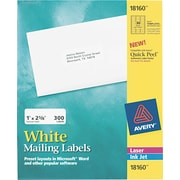 "Avery 1"" x 2.62"" Laser Easy peel Address Labels, White, 10/Pack (18160)"