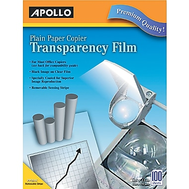 Apollo® Laser Copier Transparency Film With Removable Sensing Stripe, Clear, 8 1/2