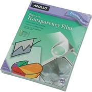 "Apollo Write-On Transparency Film, Clear, 8 1/2""(W) x 11""(H), 100/Box"