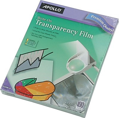 Apollo® Write-On Transparency Film, Clear, 8-1/2