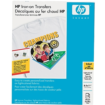 """HP Matte Iron On Transfer Paper, 8.5"""" x 11"""", 12/Pack (C6049A)"""