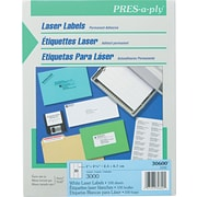 """Avery PRES-a-ply 1"""" x 2.63"""" Laser Address Labels, White, 100/Pack (30600)"""