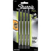 Sharpie® Pen, Fine Point, Black, 4/pk (1742661)