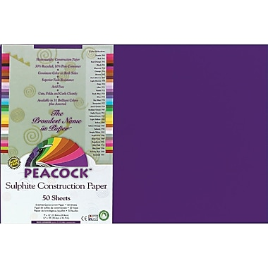 Pacon Peacock Sulphite Construction Paper, 76 lbs., Purple, 12