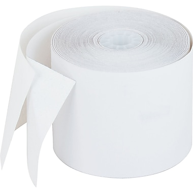 PM Company ® Single-Ply Impact Bond Recycled Receipt Paper Roll, White, 2 1/4