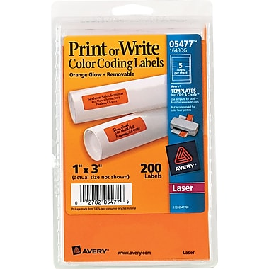 Avery ® 05477 Print Or Write Removable Color-Coding Label, Neon Orange, 1
