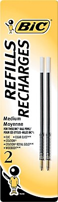 BIC Ballpoint Pen Refills, Medium Point (1.0mm), Black, 2/Pk (MRC21BK)
