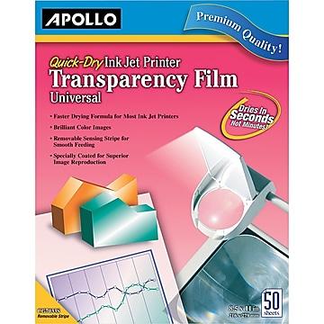 "Apollo Inkjet Printer Transparency Film, Clear, 8 1/2""(W) x 11""(H), 50/Box (CG7031S)"