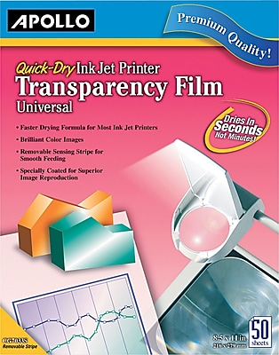 """Apollo® Quick Dry Color and Black for HP Ink Jet Transparency Sheets With Sensing Stripe, 50 Sheets, 8.5"""" x 11"""""""
