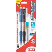 Pentel  Twist-Erase  Mechanical Pencil, HB-Soft, 0.7 mm (Dia), No. 2 Lead, Assorted Barrel, 2/Pack