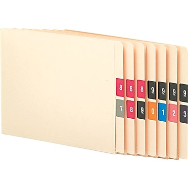 Smead 67430 Numerical End Tab File Folder Label, Assorted, 1 1/2