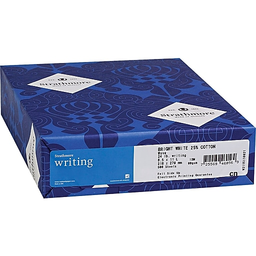 "Strathmore Writing® Cotton Business Stationery Paper, Ultimate White, 8 1/2""(W) x 11""(L), 500/Ream"