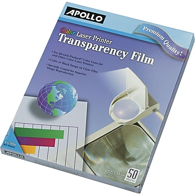 "Apollo® Color Laser Jet Printer and Copier Transparency Film Without Sensing Stripe, 50 Sheets, 8.5"" x 11"""