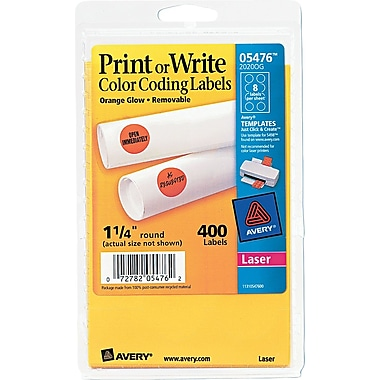 Avery 05476 Print Or Write Removable Color-Coding Label, Neon Orange, 1 1/4