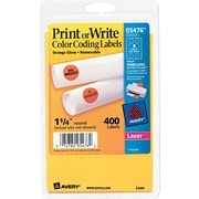 "Avery  05476 Print Or Write Removable Color-Coding Label, Neon Orange, 1 1/4""(Dia), 400/Pack"
