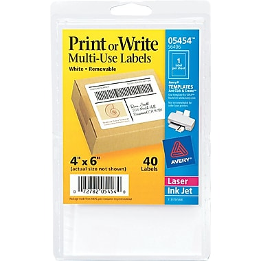 Avery ® 05454 White Printable Removable Self-Adhesive MultiUse ID Label, 4
