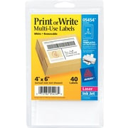 "Avery ® 05454 White Printable Removable Self-Adhesive MultiUse ID Label, 4""(W) x 6""(L), 40/Pack"