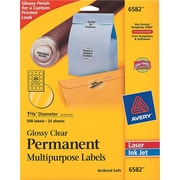 "Avery 1.63"" Dia. Inkjet/Laser Multipurpose Round Shipping Labels, Glossy Clear, 25/Pack (6582)"