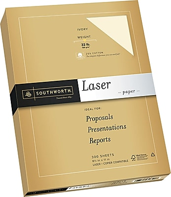 Southworth® 25% Cotton Laser Paper, Wicked White, 8 1/2