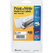 "Avery 0.5"" x 1.75"" Inkjet/Laser Removable Print or Write Labels, White, 42/Pack (05422)"