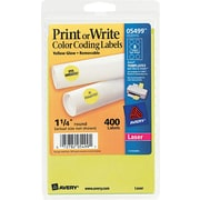 "Avery  05499 Print Or Write Removable Color-Coding Label, Neon Yellow, 1 1/4""(Dia), 400/Pack"